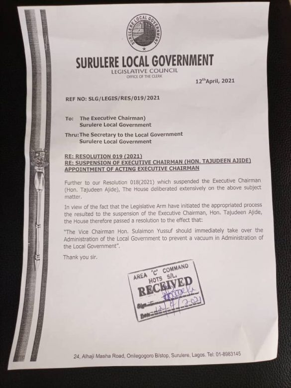 Surulere LG Councillors Appoint Acting Chairman.